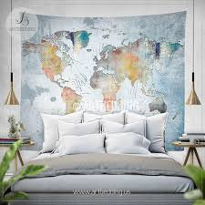 Bedroom Tapestry Wall Hangings Wanderlust Quote Wall Tapestry World Map Watercolor Wall Hanging