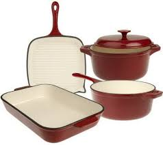 cast iron enamel cookware technique enameled cast iron 5 piece cookware set page 1 qvc com