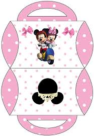 minnie and mickey in a motro ride free printable pillow box