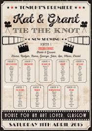 vintage cinema poster wedding table seating plan wedding