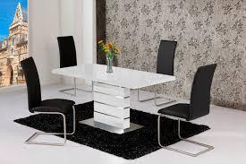High Gloss Extending Dining Table Mace High Gloss Extending 120 160 Dining Table Chair Set White