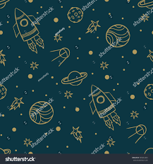seamless space pattern planets rockets stars stock vector