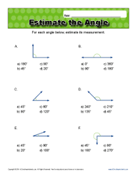 estimate the angle 4th grade geometry worksheets