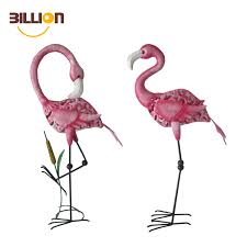 set of two assorted lawn ornaments metal pink flamingo garden