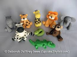 safari cake toppers set of 4 fondant safari animal cake and cupcake toppers by cupcake