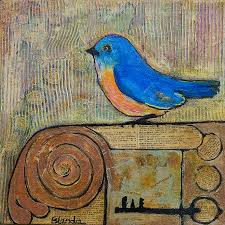 Blue Bird Home Decor Bluebird Art Knowledge Is Key Painting By Blenda Studio