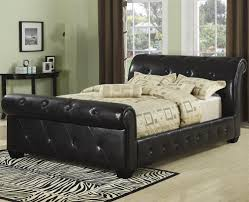 great dark brown tufted leather sleigh bed with creamy bed sheet