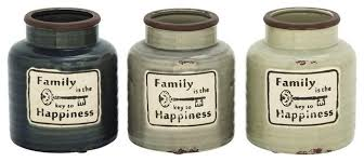 kitchen canisters ceramic ceramic family jars set of 3 farmhouse kitchen canisters
