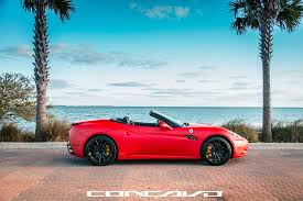 matte teal car concavo wheels auto car machine ferrari california matte red side