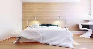 chambre avec mur en chambre contemporaine avec un mur recouvert de bois clair chêne