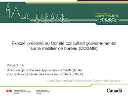 bureau gouvernement du canada exposé présenté au comité consultatif gouvernemental sur le