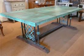 Tuscan Styled Copper Trestle Table Sold - Copper kitchen table