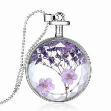 crystal glass pendant necklace images Purple lavender flower specimens necklace round crystal glass jpg