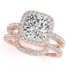 square cut rings images Cushion cut square shape diamond halo bridal set 14k rose gold 2 17ct jpg