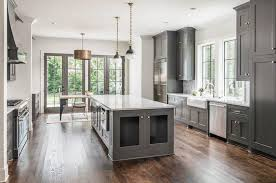 grey kitchen cabinets with brown wood floors 50 gorgeous kitchen designs with islands designing idea