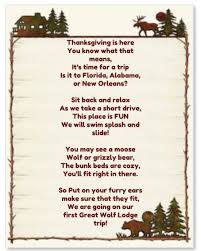 Thanksgiving Vacation Ideas Great Wolf Lodge Poem To Surprise The Kids With For Our