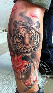 flower and tiger on right leg
