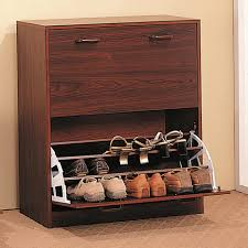 white wooden corner shoe organizer with single drawer on brown