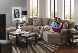 furniture ethan allen sectional sofas in brown with modern table