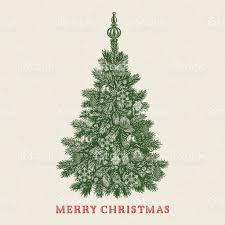 christmas tree vintage greeting card with merry christmas