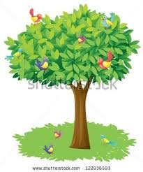 illustration tree birds on white background stock illustration