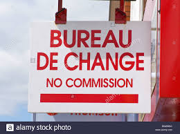 bureau de change commission bureau de change no commission shop sign stock photo royalty free