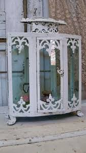 Ornate Display Cabinets Wood And Glass Display Case Large Hand Painted White Distressed