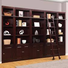 bookcases with ladder parker house boston inset library wall bookcase merlot hayneedle