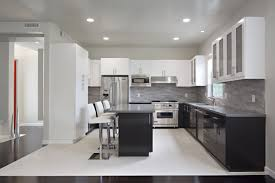 Grey Gloss Kitchen Cabinets by Kitchen Stylish Modern White And Black Gloss Color Kitchen