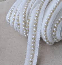pearl lace beige ribbon w pearl lace trim 2 4cm wide bridal wedding