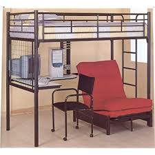 Beds That Have A Desk Underneath Amazon Com Coaster Loft Bed Full Size Work Station Kitchen U0026 Dining