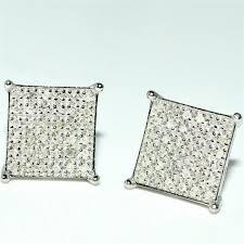 real earrings diamond stud earrings square princess cut shape 28ctw real