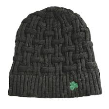 Gry Colour Acrylic Basket Weave Beanie Hat Dark Grey Colour With Green Shamrock