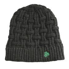 acrylic basket weave beanie hat dark grey colour with green shamrock