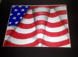Waving Flag Artist Op Art American Flag Colored Pencil Art Ideas Pinterest
