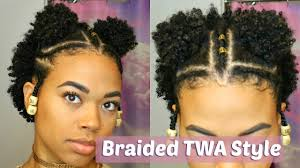 double puff braided twa style type 4 natural hair youtube