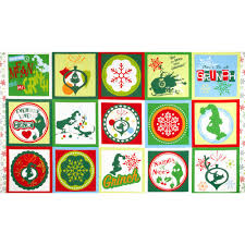 how the grinch stole flannel 3 block panel green