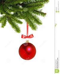 red christmas decor ball on green tree branch isolated on white