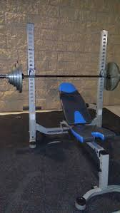 nautilus fold up weight bench press with weights for sale in