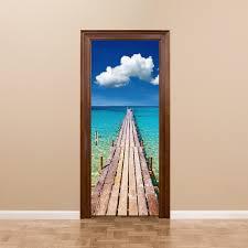 Door Decals For Home by Palm Tree Ocean Wave Waterfall Design Colorful Art Mural Door