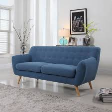 amazon com mid century modern linen fabric sofa loveseat in