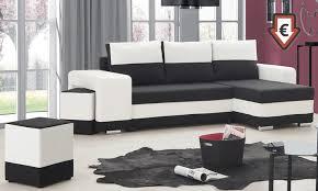 canapé d angle blanc et noir canapé d angle réversible convertible en lit groupon