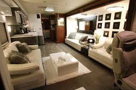 inside gwen stefani u0027s plush living room on her bus love the comfy