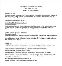 Resume For Pharmacist Job by 9 Pharmacist Job Description Templates U2013 Free Sample Example