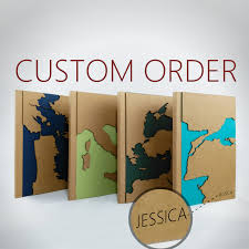 custom map travel notebook personalized gift maps unique