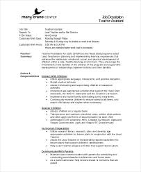 Teacher Assistant Job Duties Resume by Teaching Assistant Description Resume