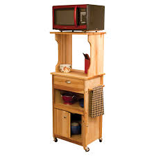 Butcher Block Microwave Cart Catskill Craftsmen Hutch Top Cart With Enclosed Storage Microwave