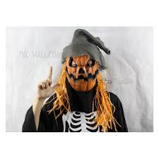 Scary Scarecrow Costume Scary Pumpkin Scarecrow Face Mask Latex Halloween Mask Fancy Party