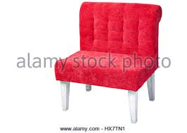 Background With Chair Wooden Chair Upholstered With Red Cloth Isolated On White Stock