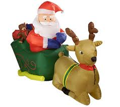 outdoor 8 santa w sleigh and reindeer lawn ornament
